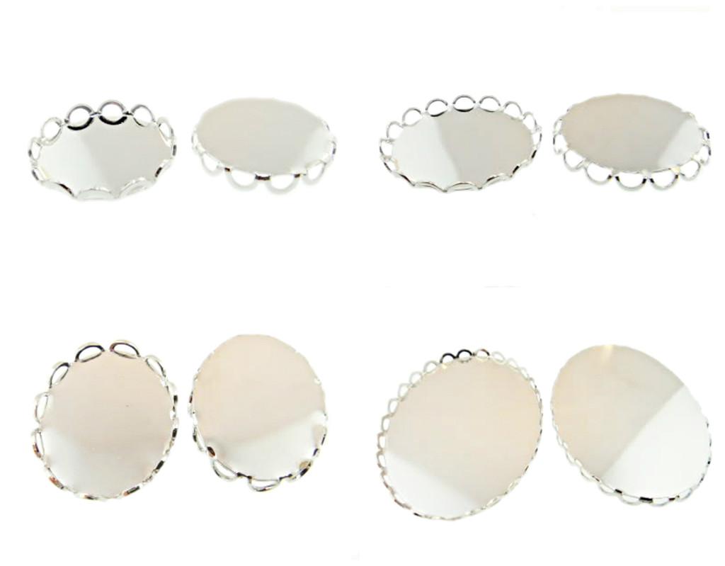 Rhodium Lace Edge Settings 36 Pieces - Choose Size & Shape
