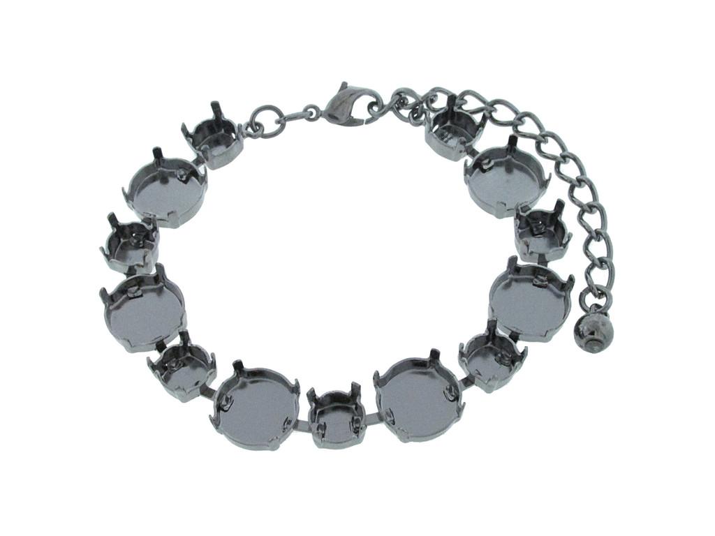 8.5mm (39ss) & 12mm Rivoli Round Alternating 13 Box Empty Bracelet