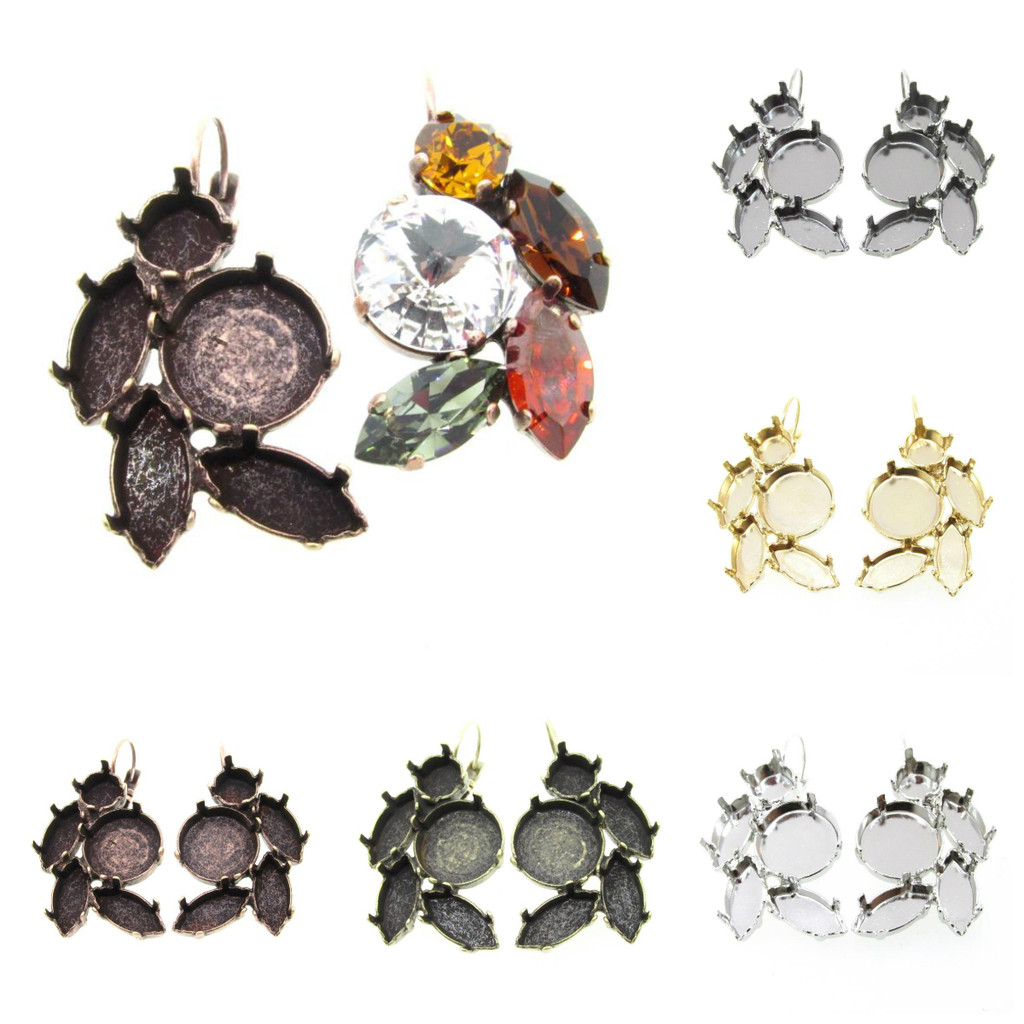 Empty Floral Mixed Size Cluster Earring 8.5mm (39ss), 15x7mm Navette, 14mm Rivoli Round