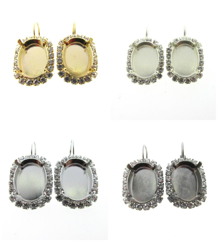 18mm x 13mm Oval Crystal Halo Earring