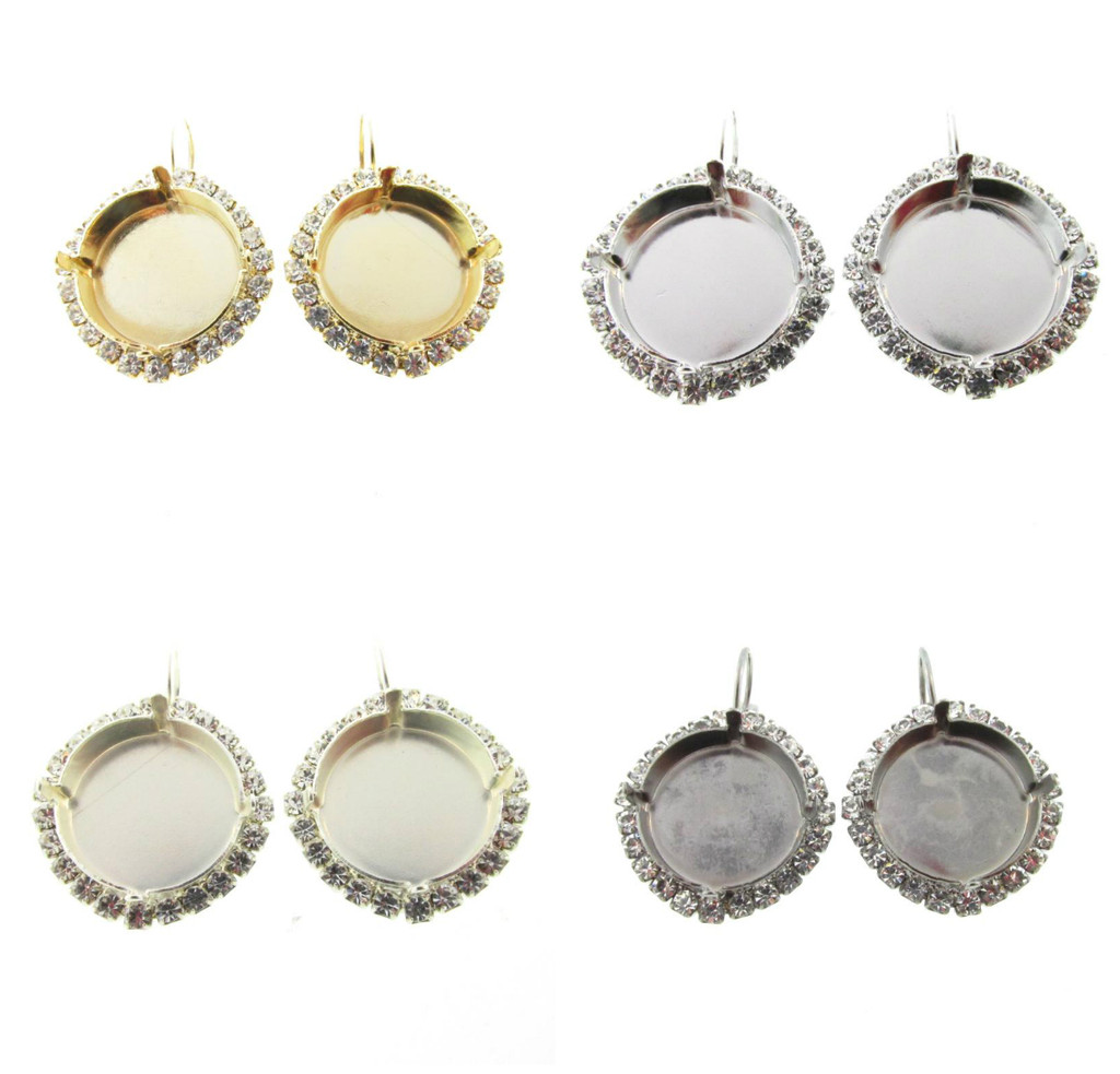 18mm Round Crystal Halo Drop Earring