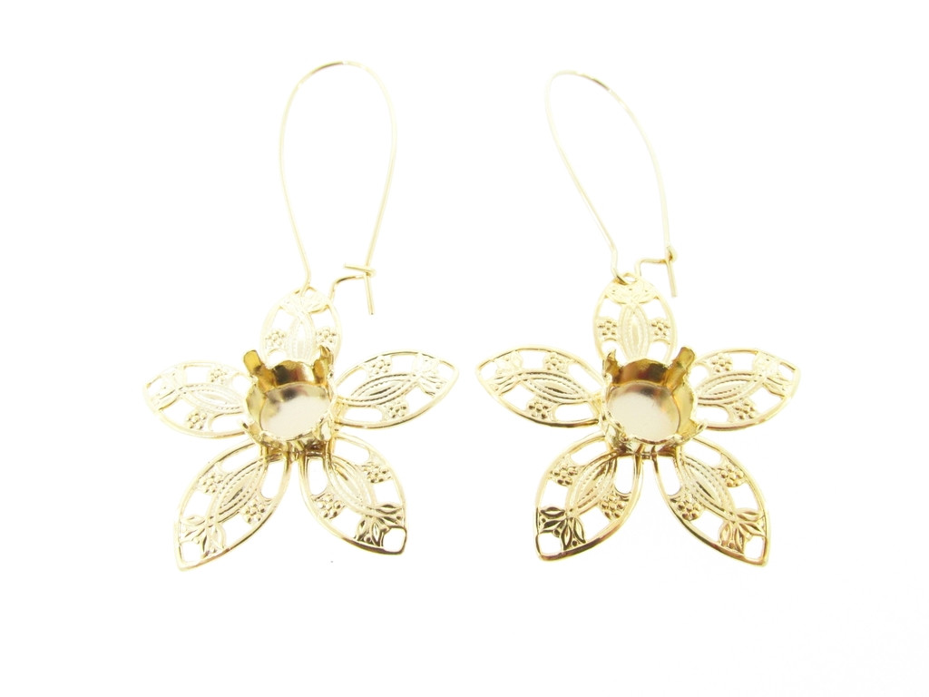 8.5mm Flower Filigree Drop Earrings