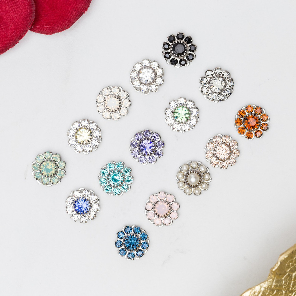 11mm | Austrian Crystal Daisy Filigree Elements | Six Pieces
