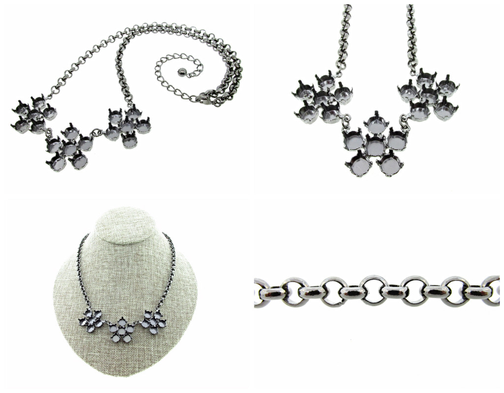 Empty 8.5mm (39ss) Three Flower Statement Necklaces 3 Pieces - Smooth Or Textured Rolo Chain