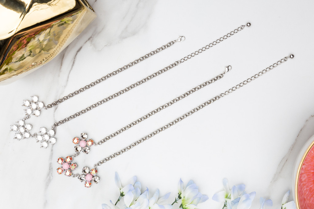 8.5mm | Triple Flower Necklace | Three Pieces