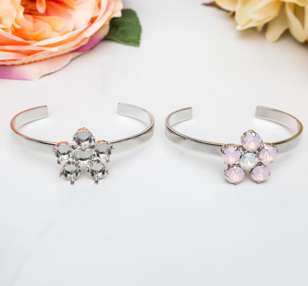 8.5mm | Flower Cuff Bracelets | Three Pieces