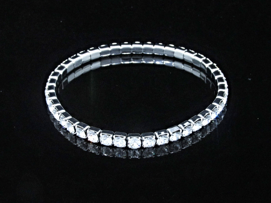 LVR 4mm Stretch Bracelet Made With Swarovski Crystals in Rhodium view 2