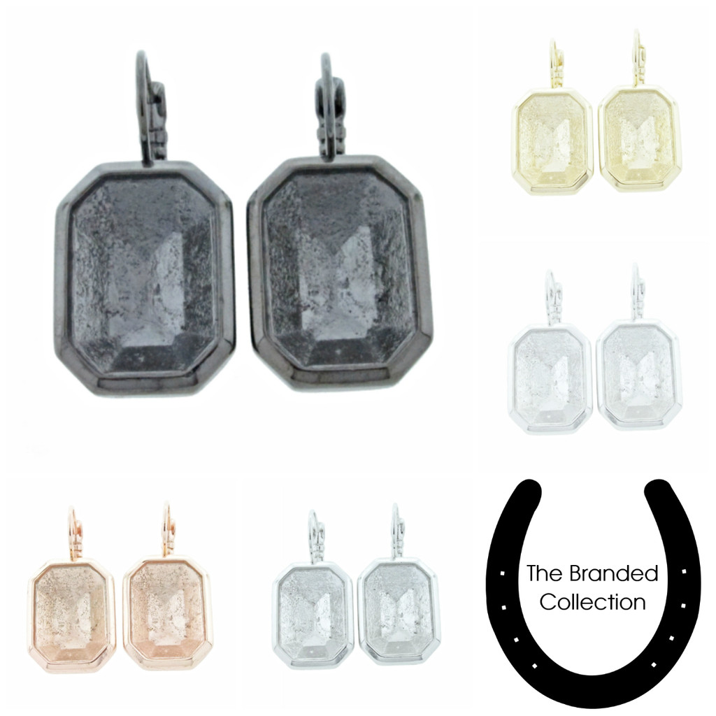 The Branded Collection - 18mm x 13mm Octagon Lever Back Casted Earrings