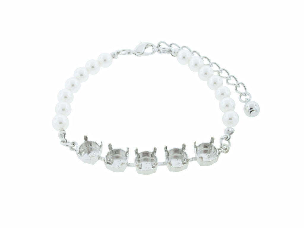 8.5mm (39ss) 5 Box Empty Bracelet With Faux Pearl Strands