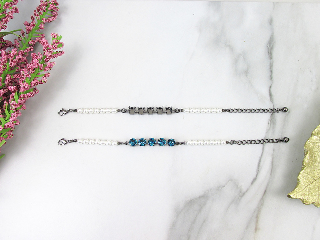 8.5mm | Classic Five Setting Bracelet With Faux Pearl Strands | One Piece