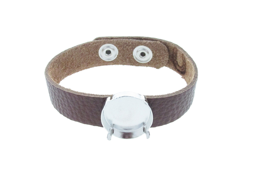 Shown with Rhodium Settings On The Textured Chestnut Leather Bracelet with Rhodium Snap Closures