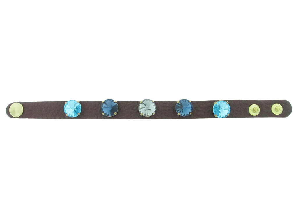 The Branded Leather Line - Classic Leather Bracelet With Five 12mm Rivoli Round Riveted Empty Settings Made In The USA