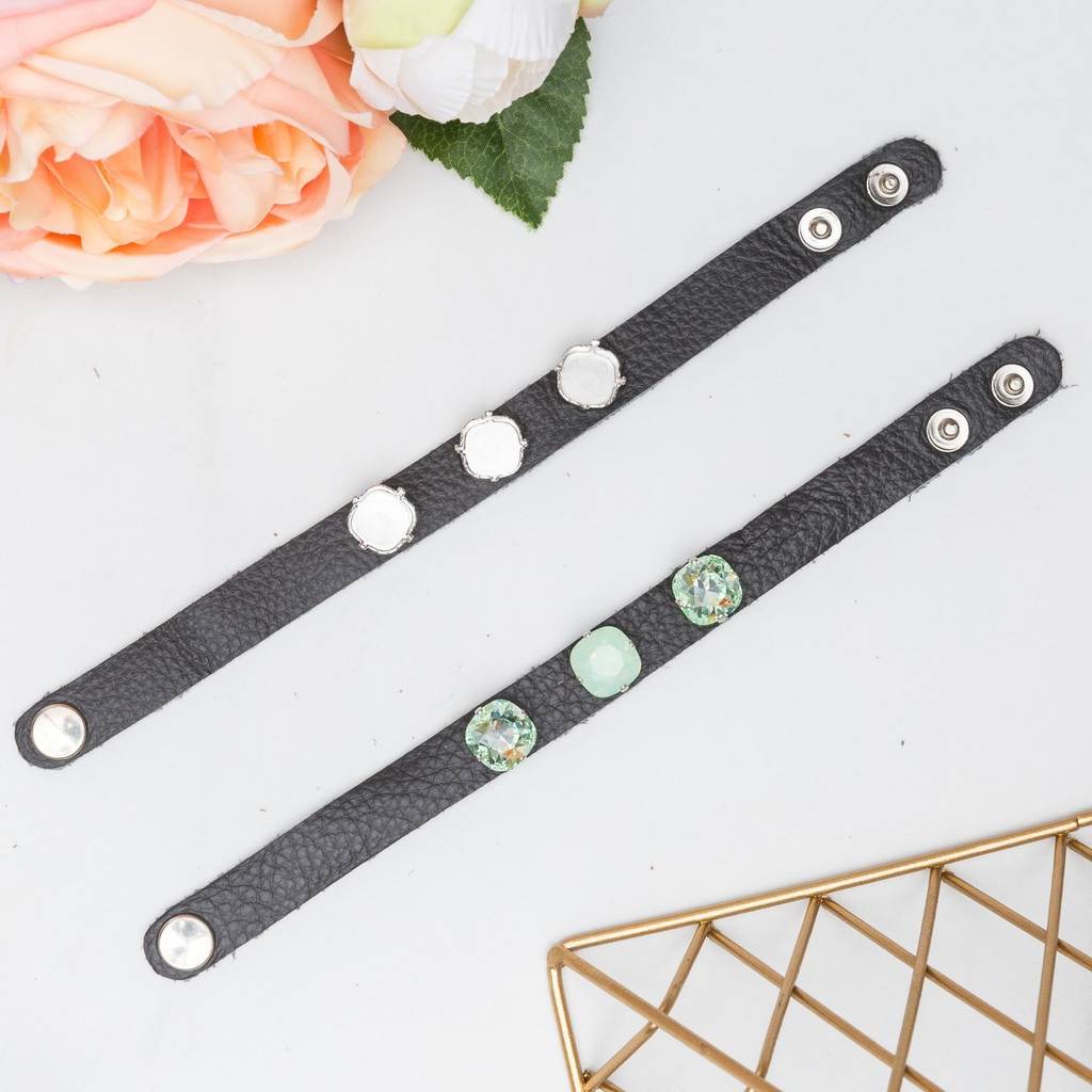 12mm Square | Three Setting Classic Leather Bracelet | One Piece