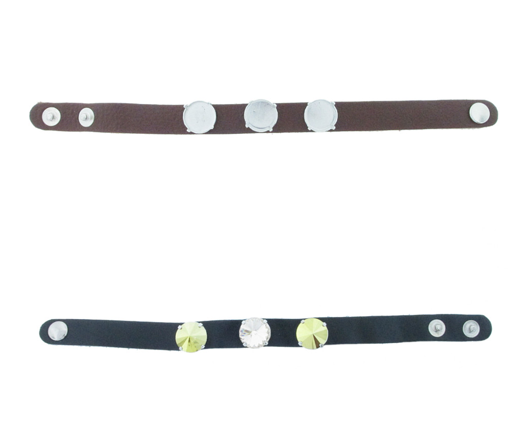 The Branded Leather Line - Classic Leather Bracelet With Three 14mm Rivoli Round Riveted Empty Settings