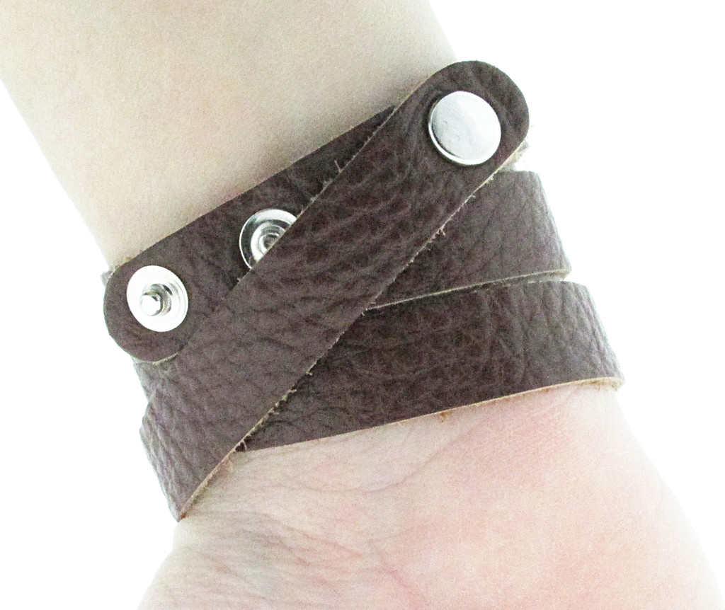 The Branded Leather Line - Wrap Leather Bracelet With Seven 8.5mm (39ss) Riveted Empty Settings Made In The USA