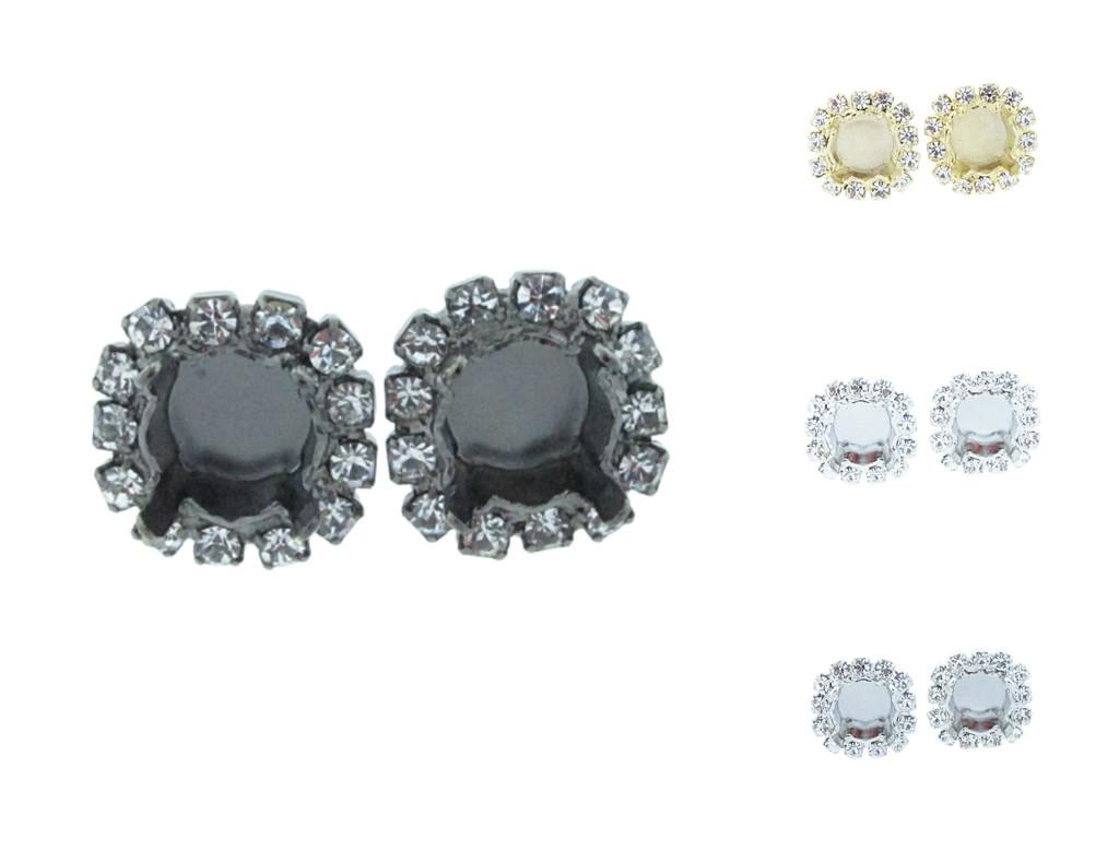 8.5mm Crystal Halo Stud Earrings