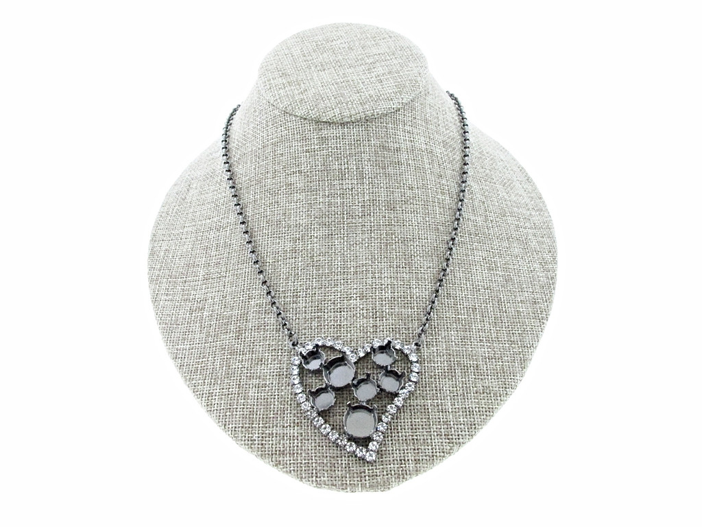 8.5mm (39ss) & 11mm Large Heart With Crystal Rhinestones Empty Necklace Hematite