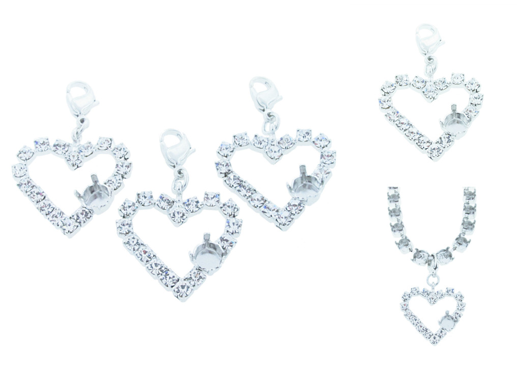 6mm (29ss) Small Heart Empty Necklace Enhancer With Crystal Rhinestones Rhodium
