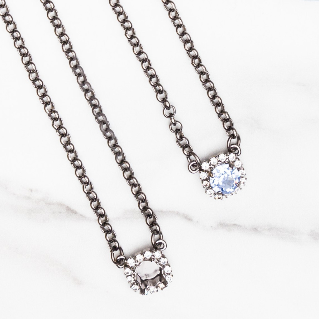 8.5mm | Crystal Halo Pendant Necklace | One Piece