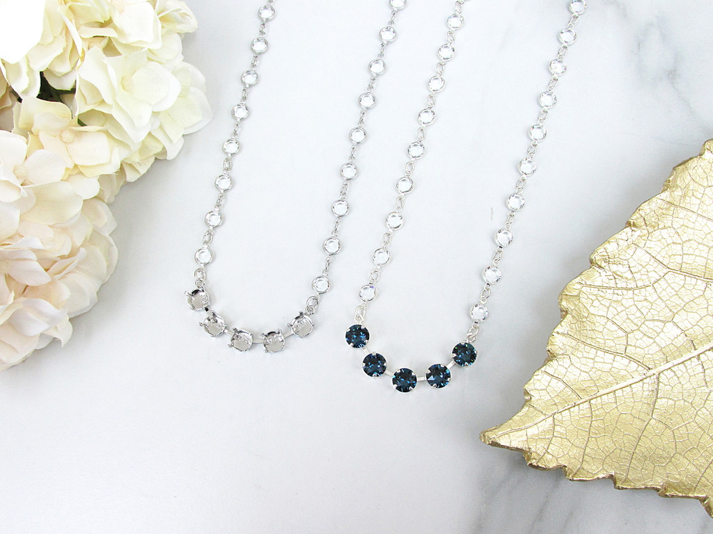 8.5mm | Five Setting Necklace With Chanel Chain | One Piece