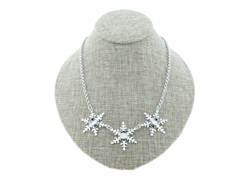 8.5mm (39ss) Three Snowflake Empty Necklace Small Smooth Rolo Chain
