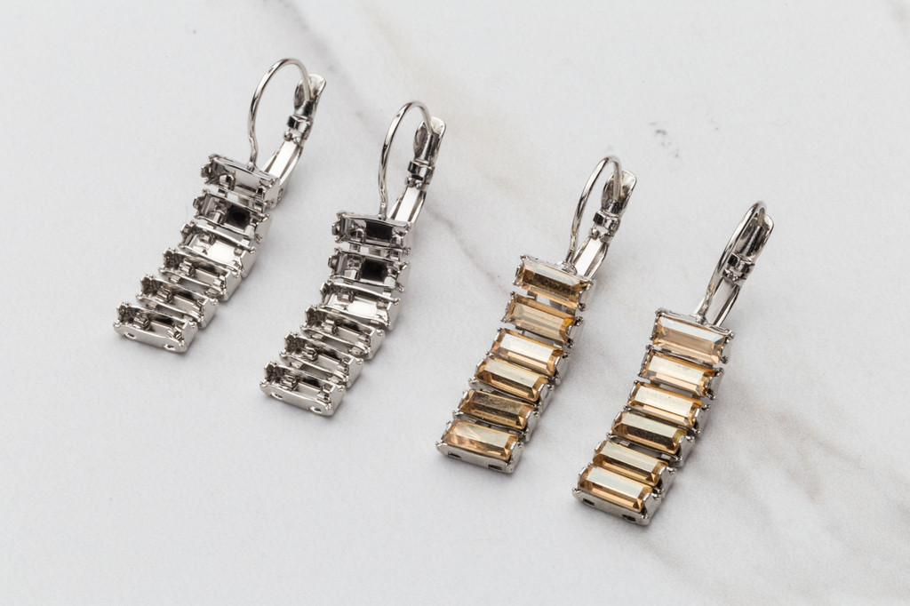 7mm x 3mm Baguette | Six Setting Drop Earrings | Three Pairs