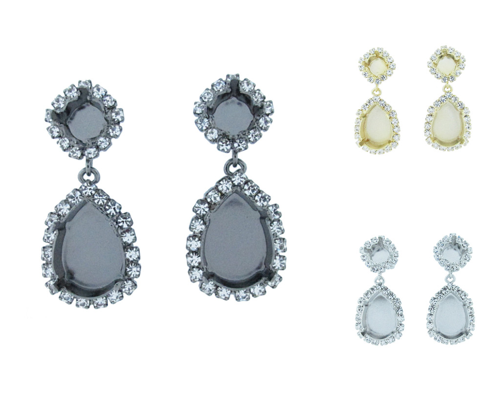 8.5mm & 18mm x 13mm Pear Crystal Halo Stud Earrings