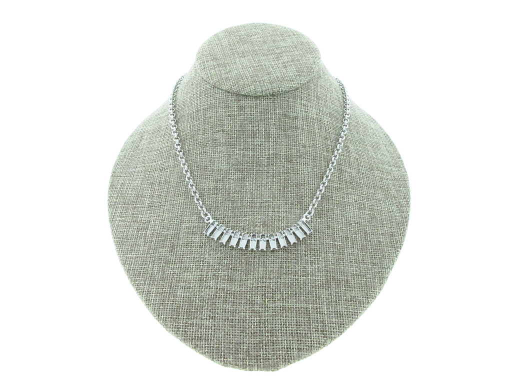 7mm x 3mm Baguette 12 Box Empty Necklace With Small Smooth Rolo Rhodium for swarovski