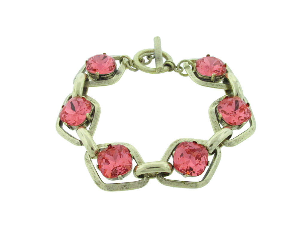 Chunky Statement Bracelet With Six 12mm Square Cushion Cut in antique gold with swarovski crystals