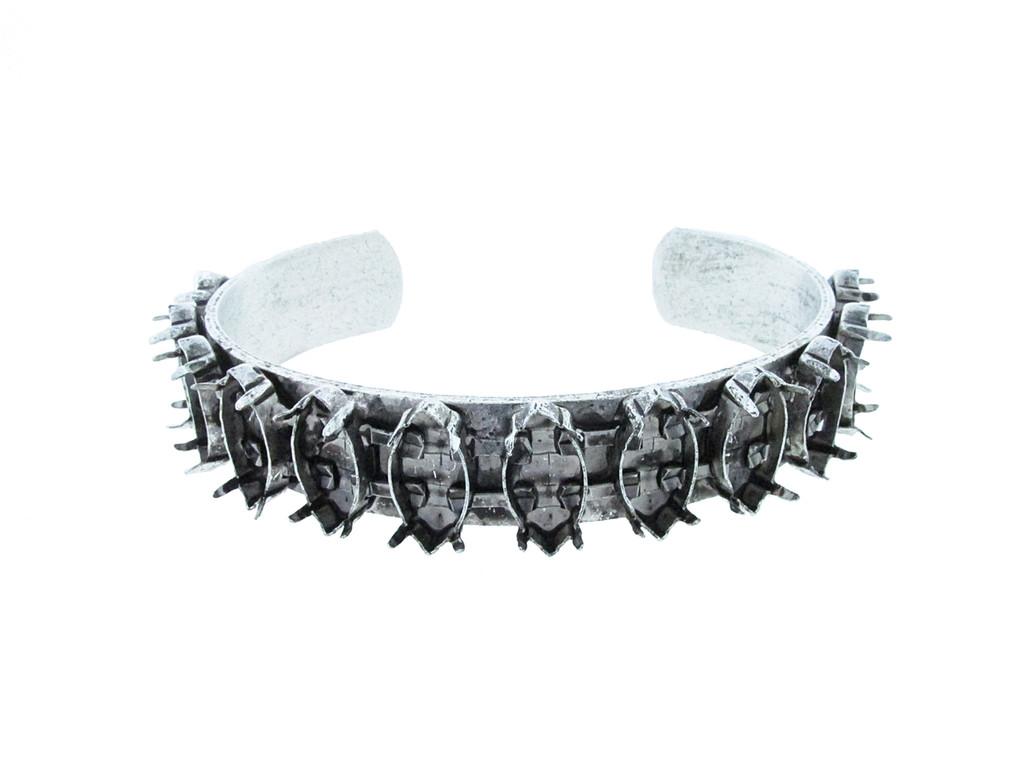 Cuff Bracelet with Twelve 15mm x 7mm Navette Empty Settings Silver Ox