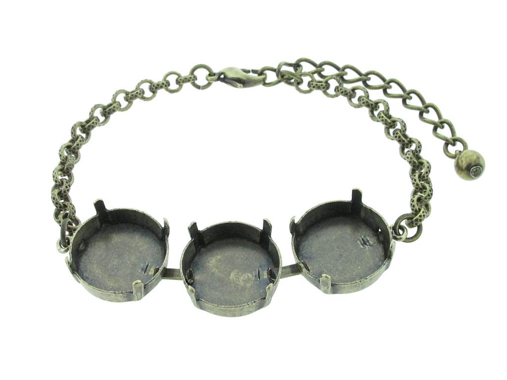 18mm Rivoli Round 3 Box Empty Bracelet in Brass Ox