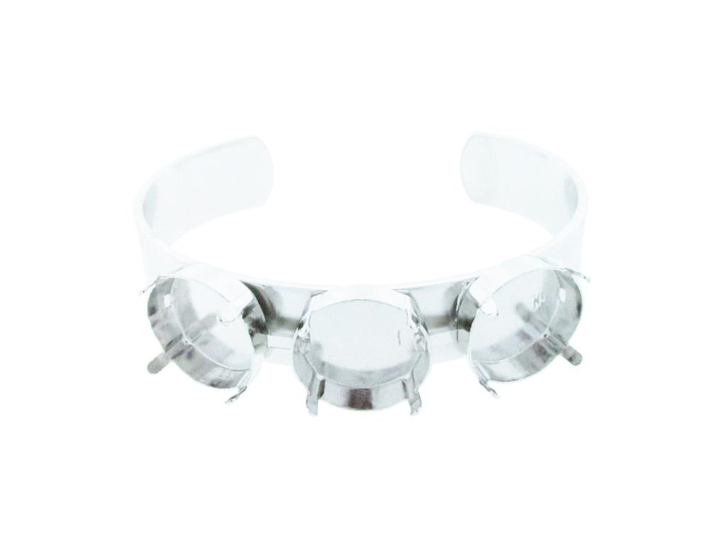 18mm Rivoli Round 3 Box Empty Cuff Bracelet Silver Overlay