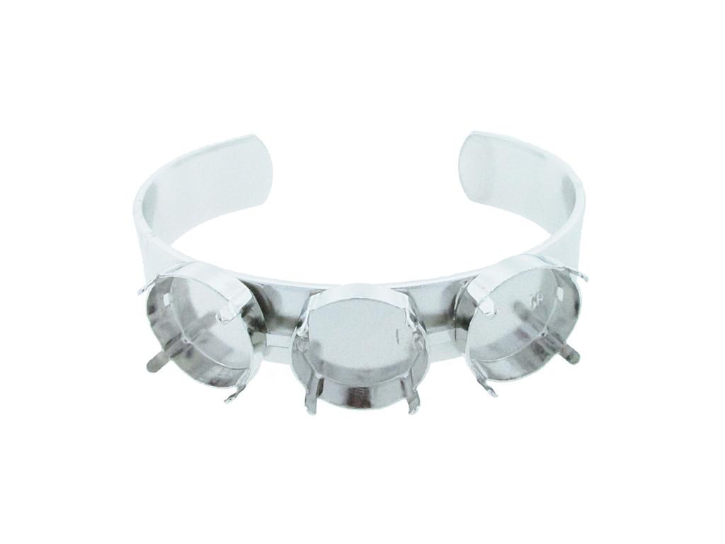 18mm Rivoli Round 3 Box Empty Cuff Bracelet in Rhodium