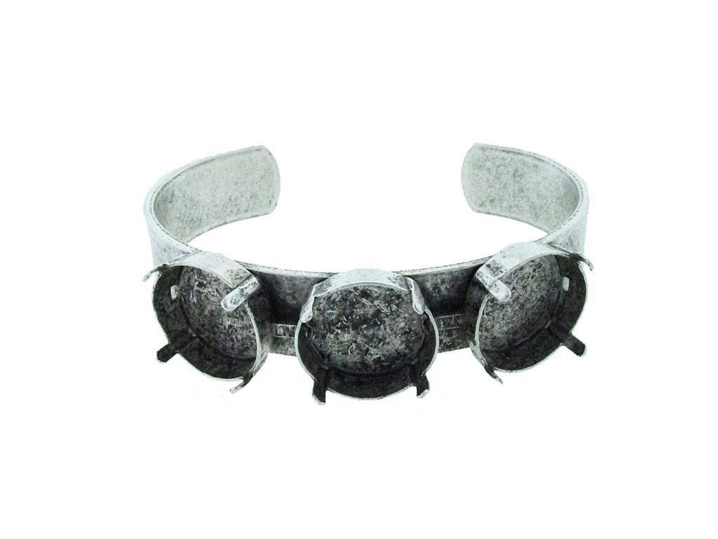 18mm Rivoli Round 3 Box Empty Cuff Bracelet in Silver Ox