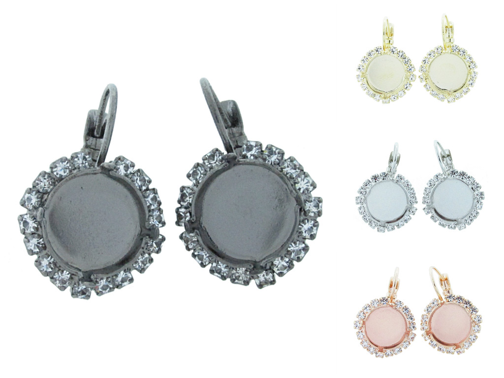 12mm Round Crystal Halo Drop Earring