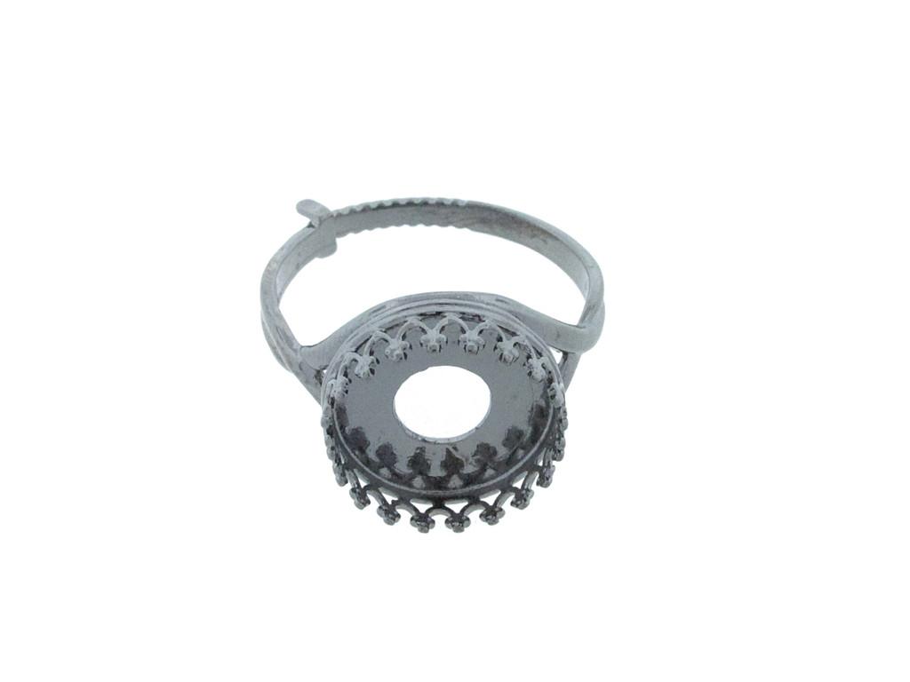 12mm Rivoli Round Crown Open Back Adjustable Ring In Hematite
