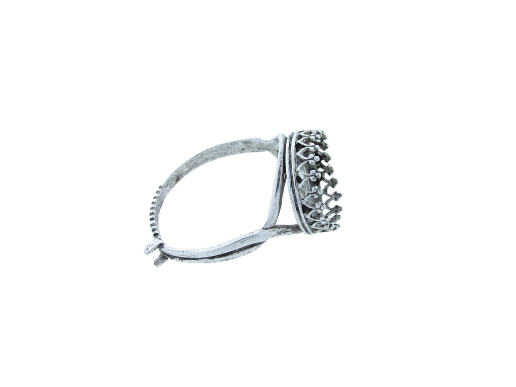 12mm Rivoli Round Crown Open Back Adjustable Ring In Silver Ox