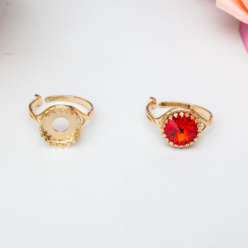 12mm Round | Crown Adjustable Ring | One Piece