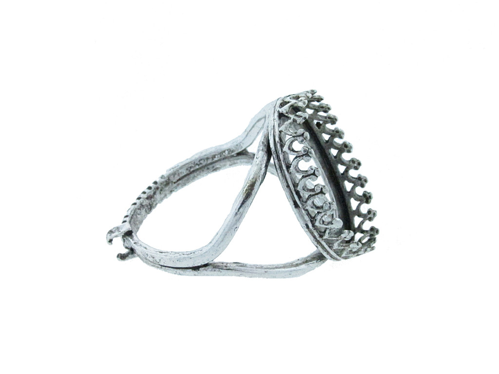 18mm x 13mm Oval Crown Open Back Adjustable Ring In Silver Ox