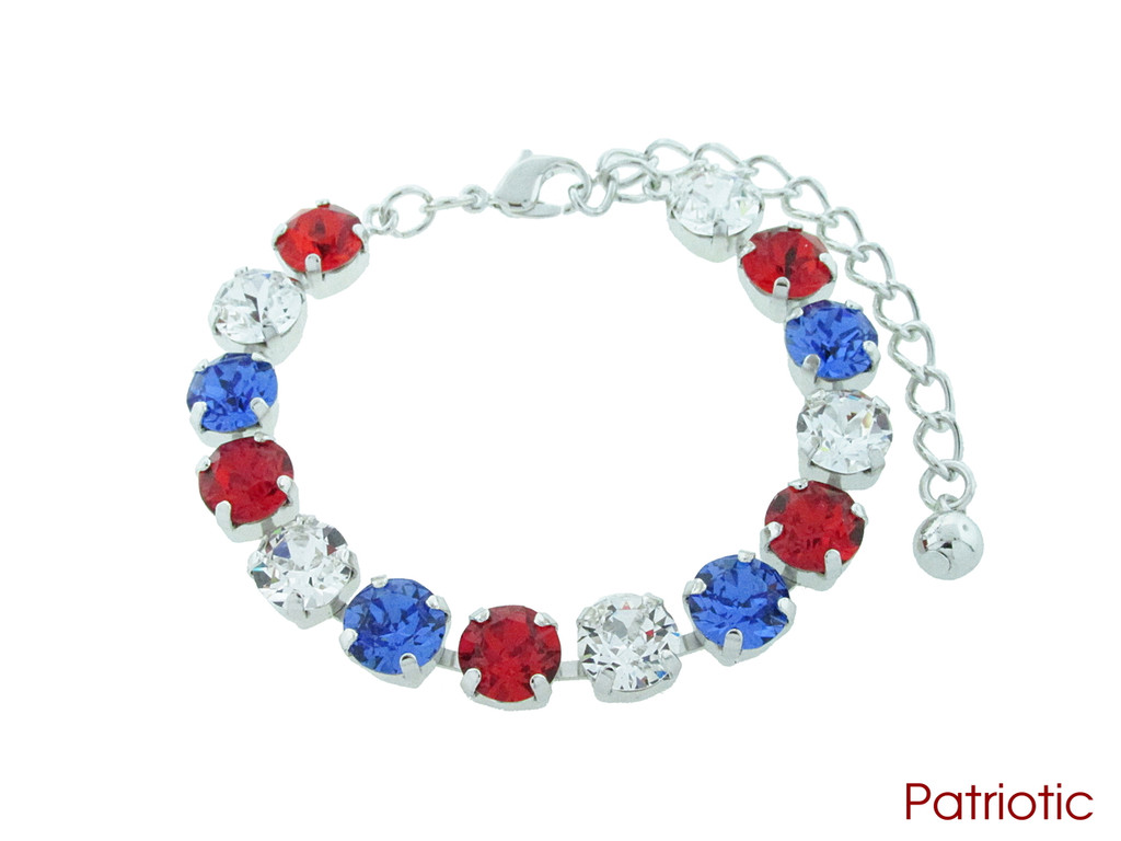 Patriotic color collection shown on the 8.5mm 14 box bracelet in rhodium