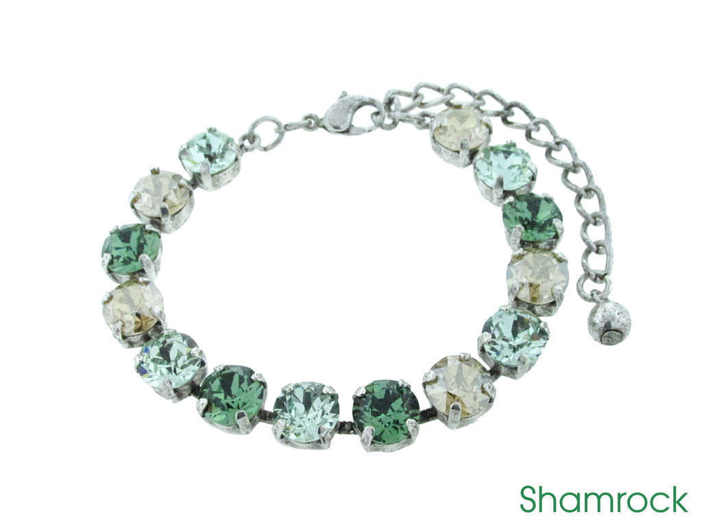 Shamrock color collection shown on the 8.5mm 14 box bracelet in silver ox