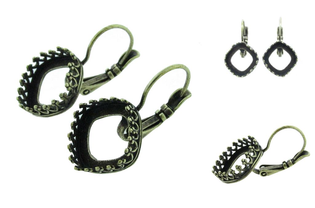 12mm Square Crown Drop Earrings in Brass Ox