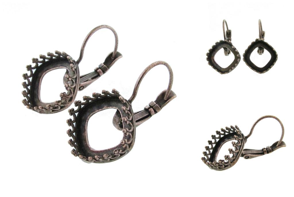 12mm Square Crown Drop Earrings in Copper Ox