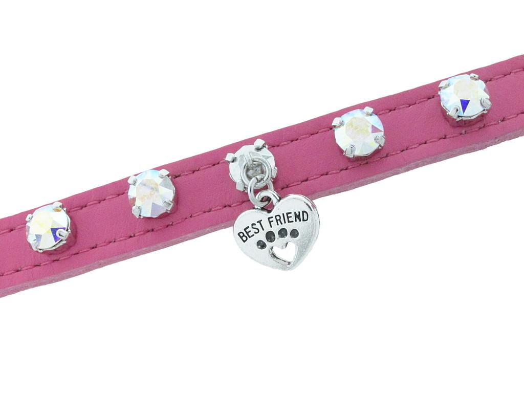 12mm Round | Seven Setting Premium Leather Dog Collar | Medium | 18 inches
