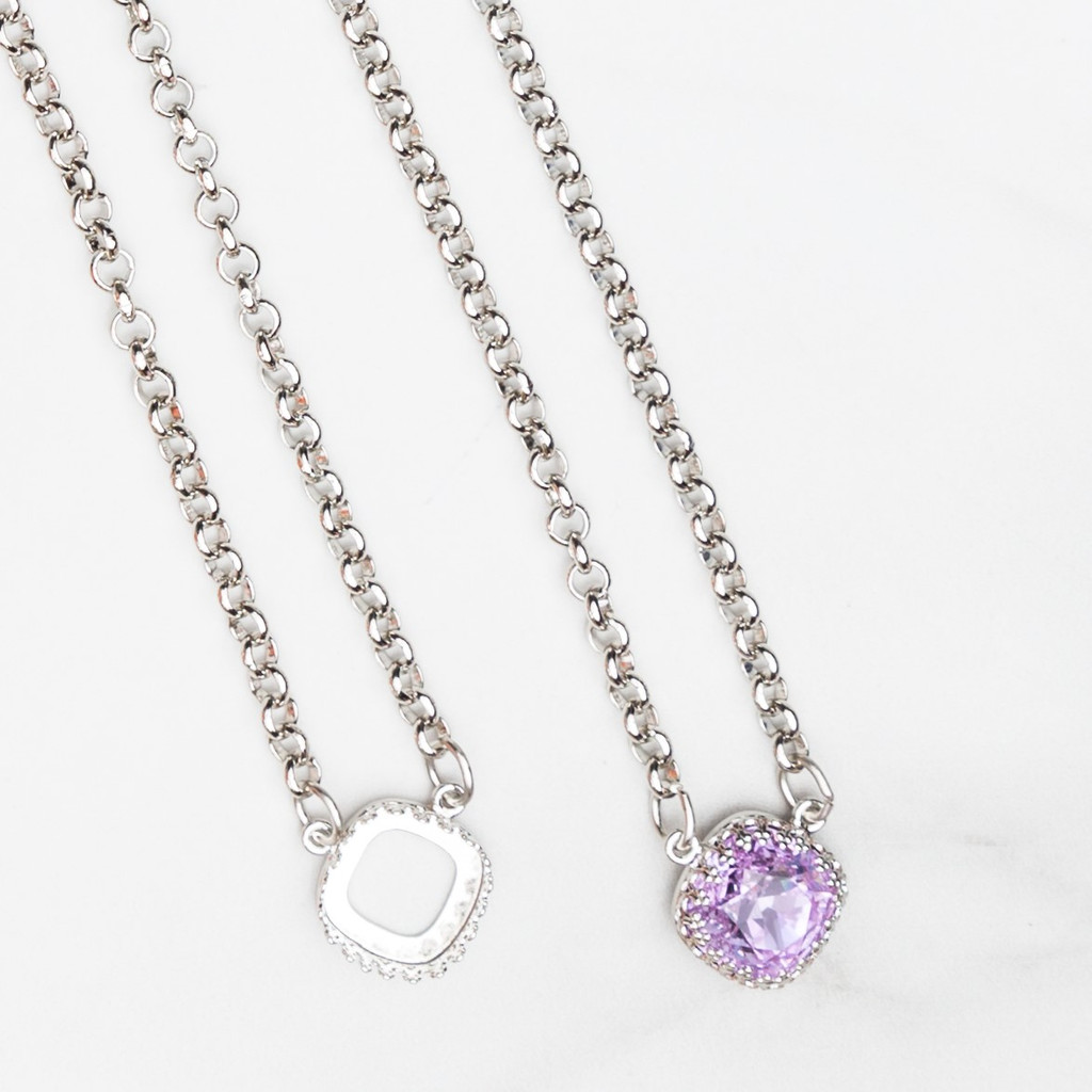 12mm Square | Crown Pendant Necklace | One Piece