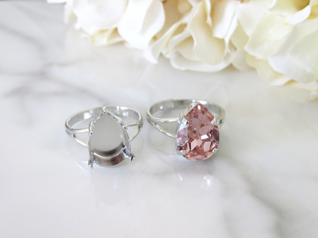 14mm x 10mm Pear   Classic Band Adjustable Ring   Three Pieces