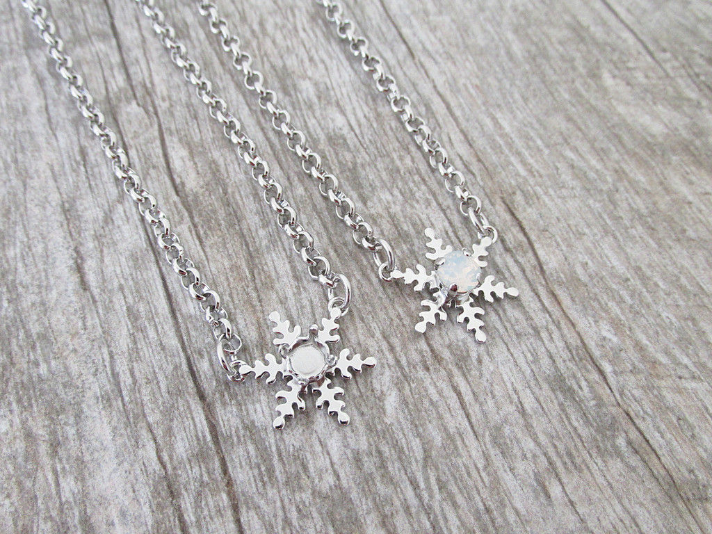 6mm (29ss) Single Snowflake Empty Necklace