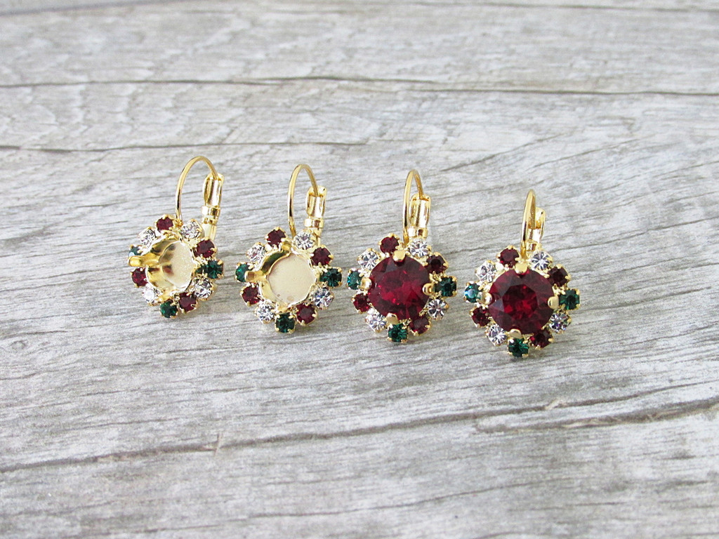 8.5mm | Christmas Crystal Halo Earrings | One Pair