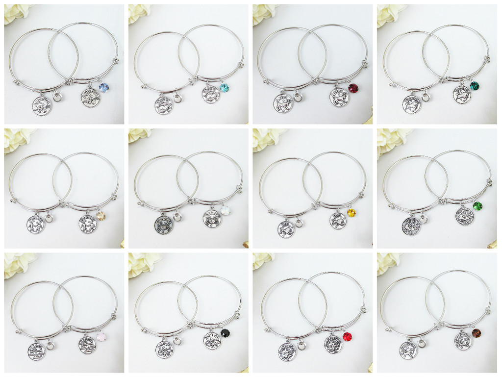 8.5mm | Zodiac Sign Charm Bangle Bracelet | One Piece