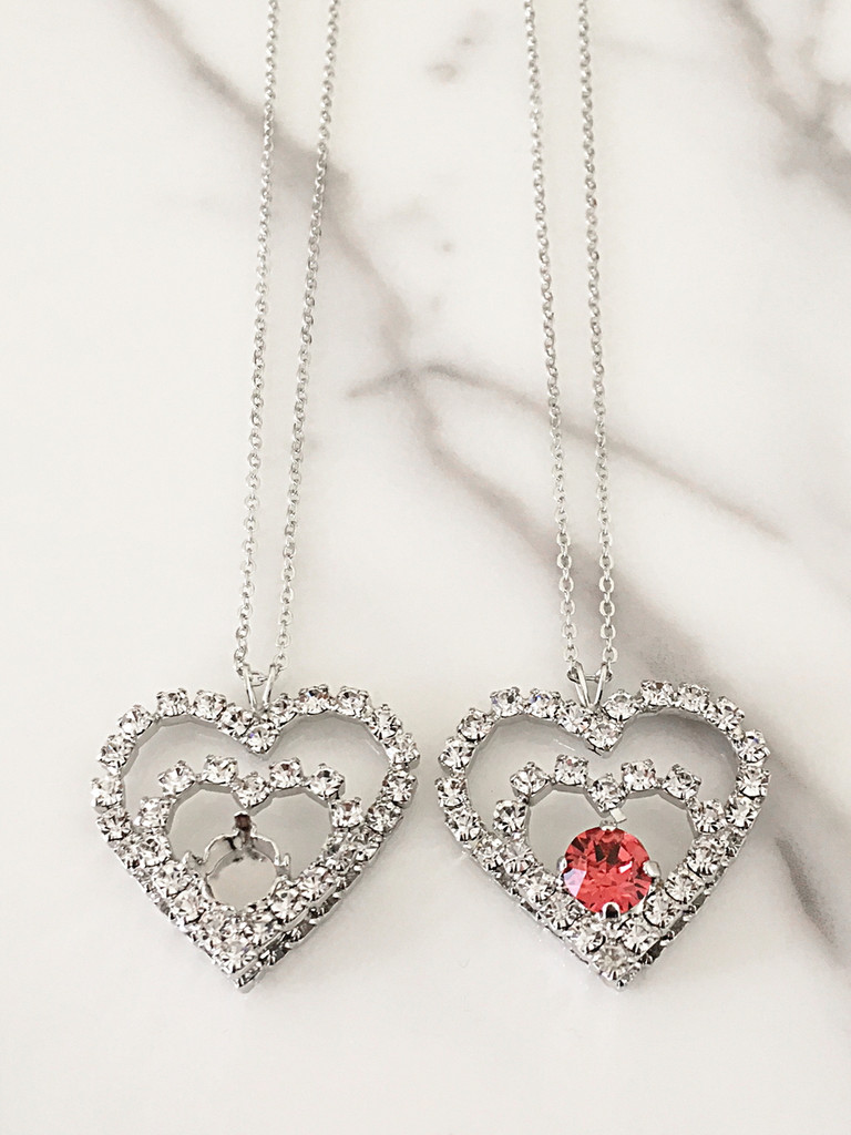 8.5mm | Rhinestone Double Heart Necklace | One Piece